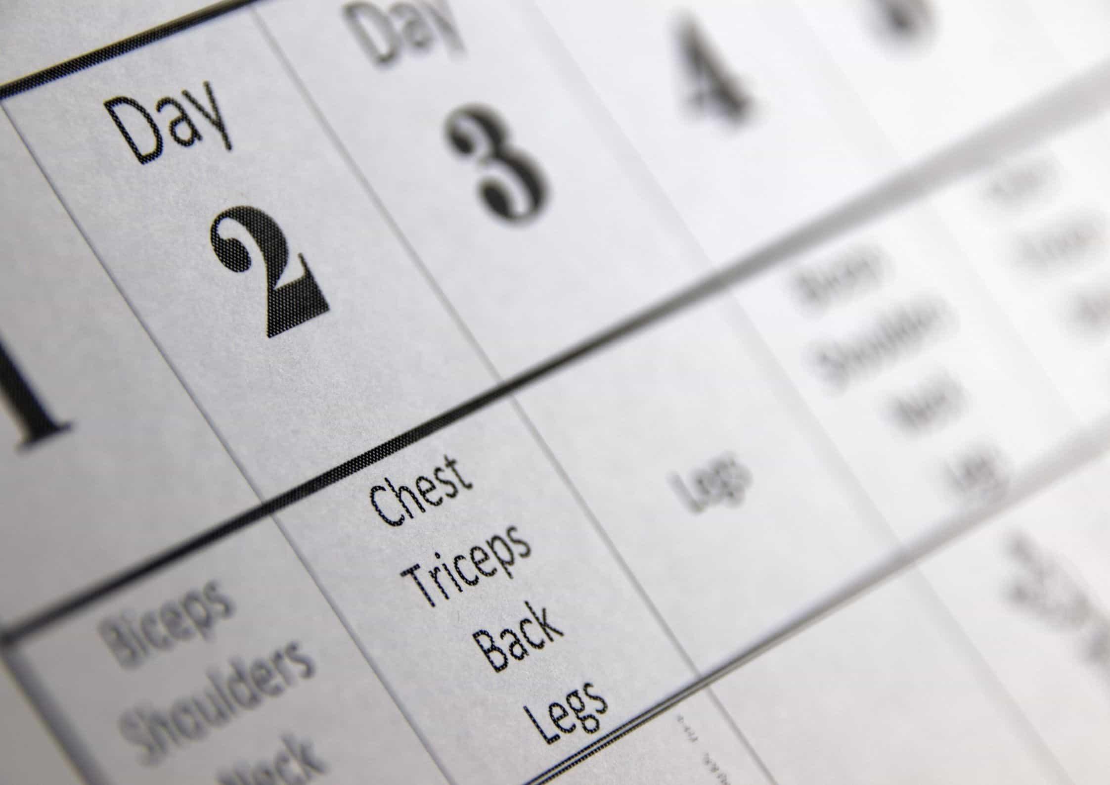 Eget treningsprogram i kalender
